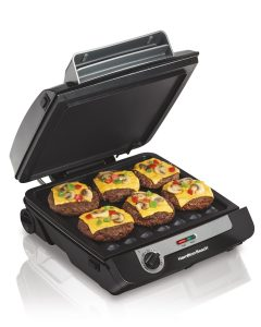 Hamilton Beach 3-in-1 Indoor Grill and Electric Griddle Combo and Bacon Cooker, Opens 180 Degrees to Double Cooking Space